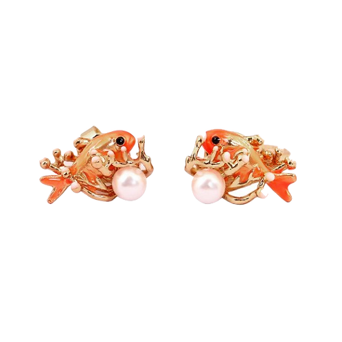 Goldfish in Anemone Clip-On Earrings