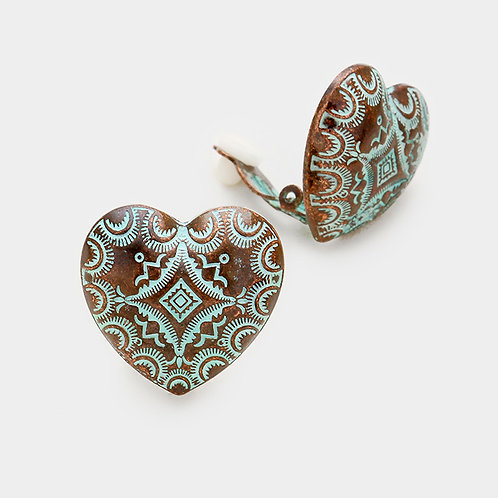 Etched antiqued copper heart retro clip-on earrings