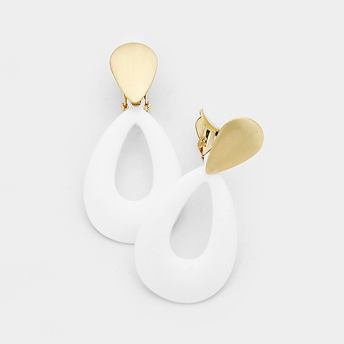 White and Gold Loop Clip Earrings