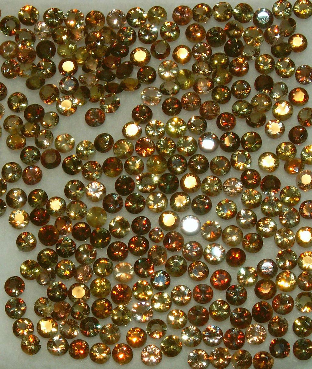 A Tray of Andalusite Cut Gems