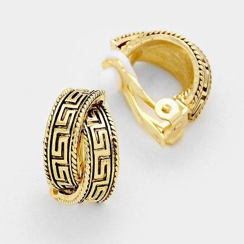 Crossed Grecian Frieze Demi Hoop Clip-Ons, Gold