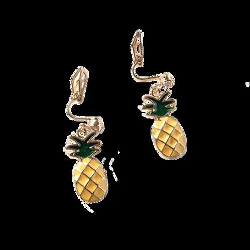 Novelty Pineapple Clip Earrings