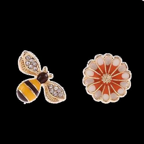 Asymmetrical bee and flower clip-on earrings