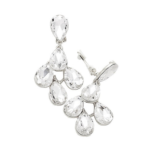 Big clip-on crystal earrings for evening wear