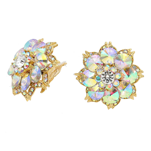 Large crystal button clip-on earrings