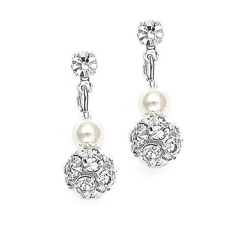Pearl Rhinestone Fireball Clip Earrings ~ Silver