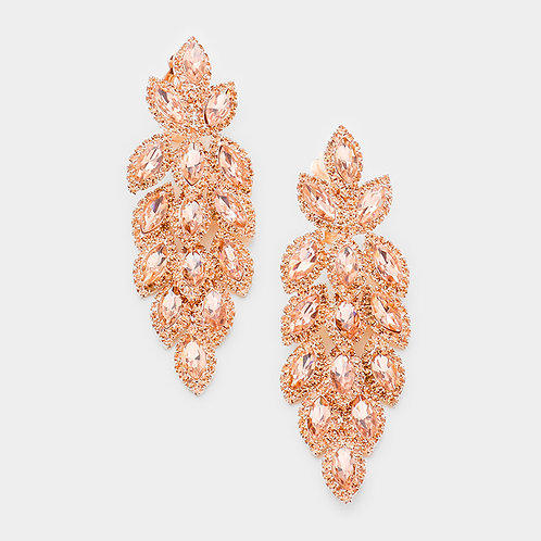Crystal Feather Chandelier Clip Earrings, Rose Gold
