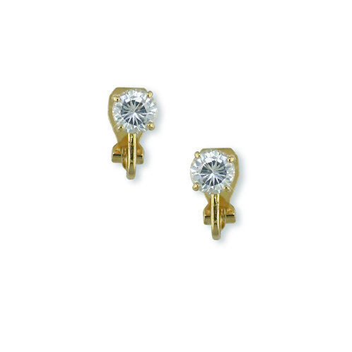 6mm Cubic Zirconia Clip On Studs, Gold