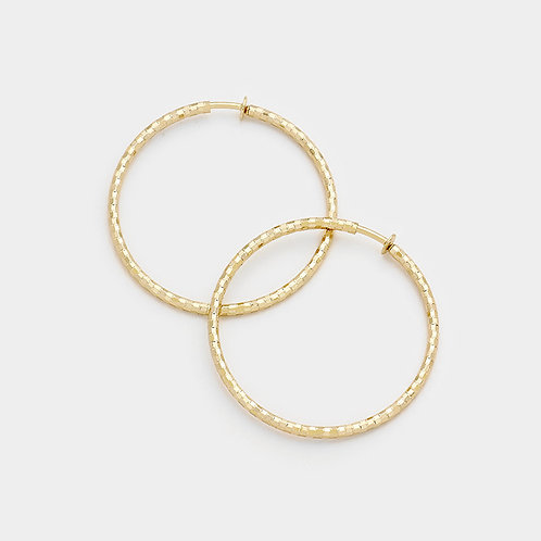 4.5cm Textured Gold Clip On Hoops