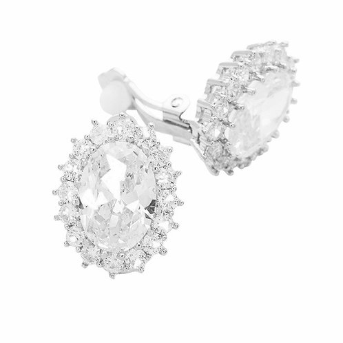 Oval Rosette Crystal Clip Earrings Silver