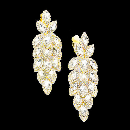 Crystal feather chandelier clip earrings gold rhinestone chandelier clip on earrings like falling autumn leaves in gold aloadofball Image collections