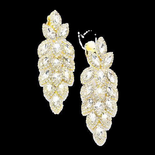 Rhinestone chandelier clip-on earrings like falling autumn leaves in gold