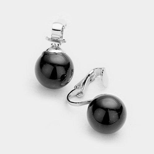 14mm Black Faux Pearl Clip Earrings