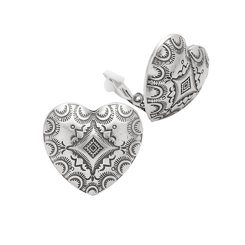 Etched metal heart 70s retro clip-on earrings
