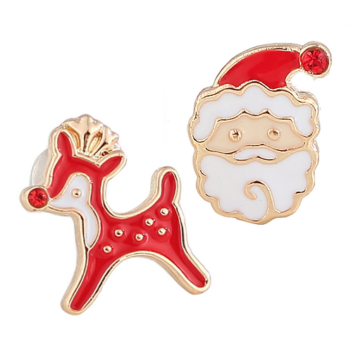 Rudolph and Santa Clip-On Earrings