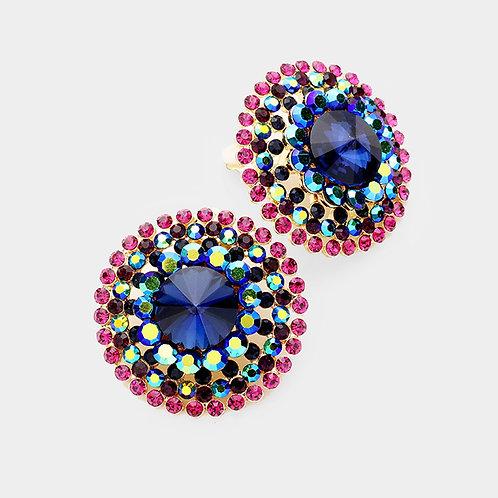 Oversized Multi-Coloured Rhinestone Button Clip Earrings