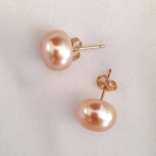 11mm Pink Pearls On 14k Gold Posts