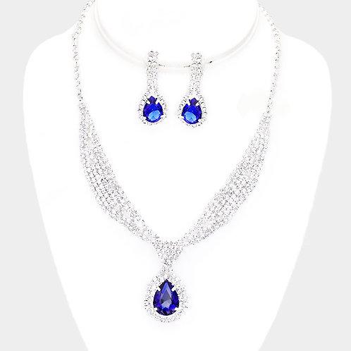 Rhinestone Sash Collar Clip Earring Necklace Set, Blue