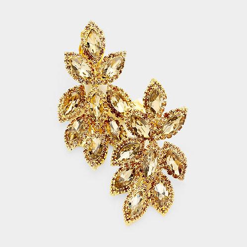 Short Crystal Feather Chandelier Clip Earrings, Gold Topaz