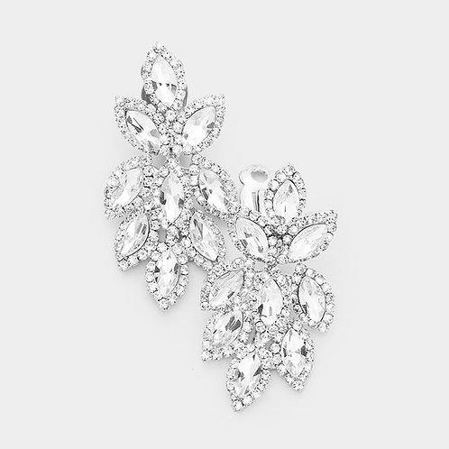 Short Crystal Feather Chandelier Clip Earrings, Silver