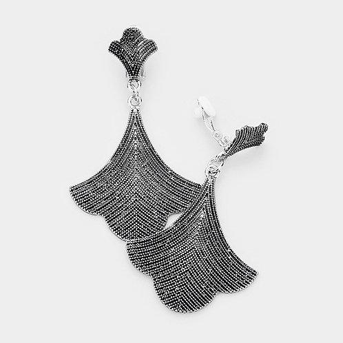 Antiqued Art Nouveau Metal Fan Clip Earrings