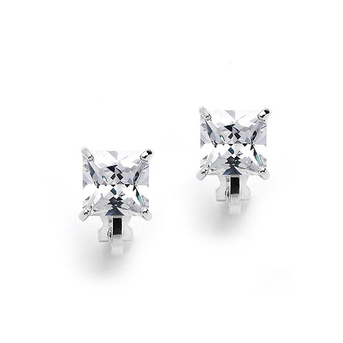 2 Carat 8mm Princess Cut CZ Solitaire Clip On Studs
