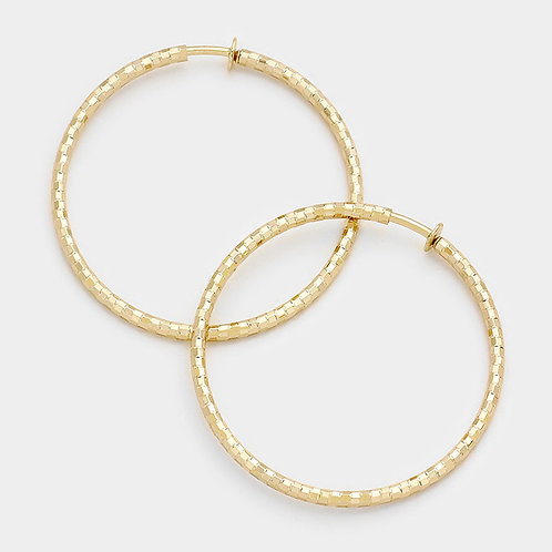 8cm Textured Gold Clip On Hoops