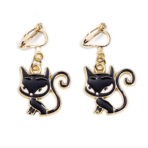 Black Cat Enamelled Clip-On Earrings