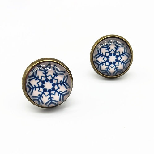 Snow Crystal Clip On Button Earrings
