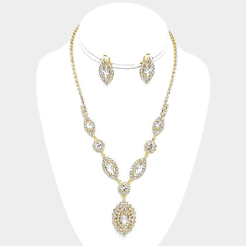 Clip on earring necklace set with rhinestones in gold plate