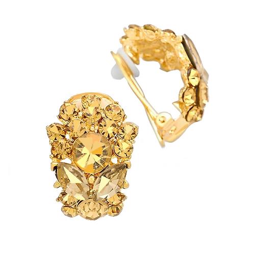 Gold Smoked Topaz Half Hoop Clip Earrings