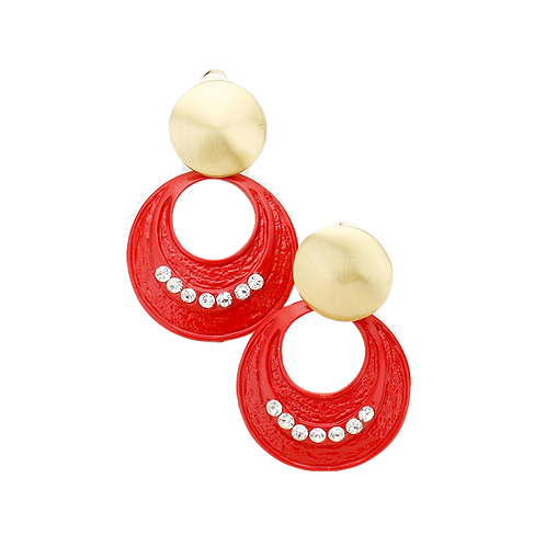 Red and Gold Drop Hoop Clip Earrings