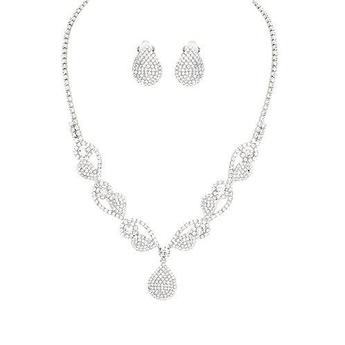 Dainty Scrolled Rhinestone Clip Earring Necklace Set, Silver