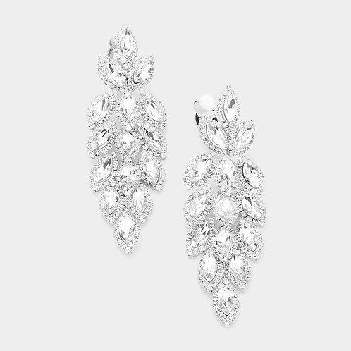 Rhinestone chandelier clip-on earrings like falling autumn leaves in silver