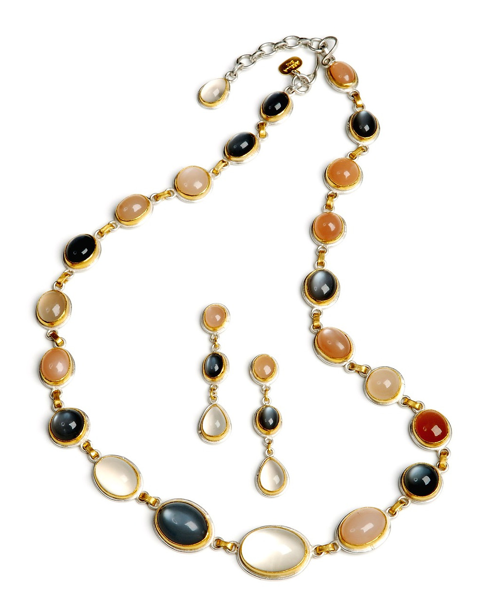 Necklace Set with Colourful Round and Oval Cabochon Gemstones