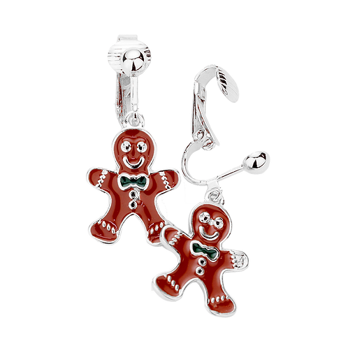 Christmas Gingerbread Man Novelty Clip On Earrings, Silver