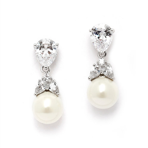 Pearl and Crystal Bridal Clip Earrings