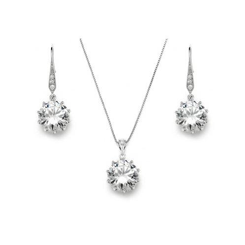 5ct cubic zirconia solitaire necklace and earring set