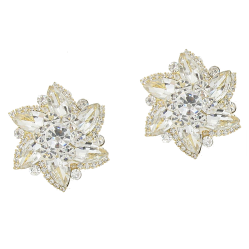 Crystal windmill clip-on evening earrings