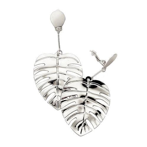 Tropical Leaf Dangle Clip On Earrings, Silver