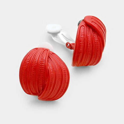 Retro Red Metal Knot Clip Earrings