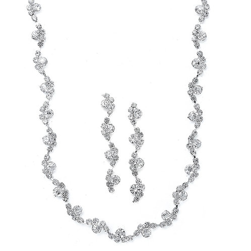 Wavy rhinestone necklace and long earrings set