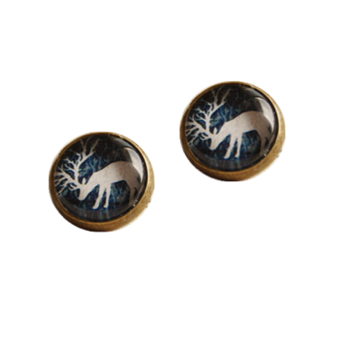 White reindeer clip-on Christmas button earrings