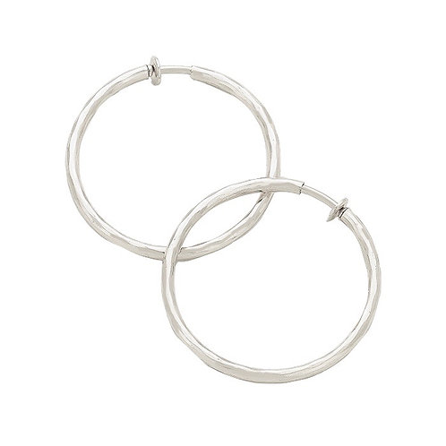 4.5cm Silver Tone Soft Texture Clip-On Hoops