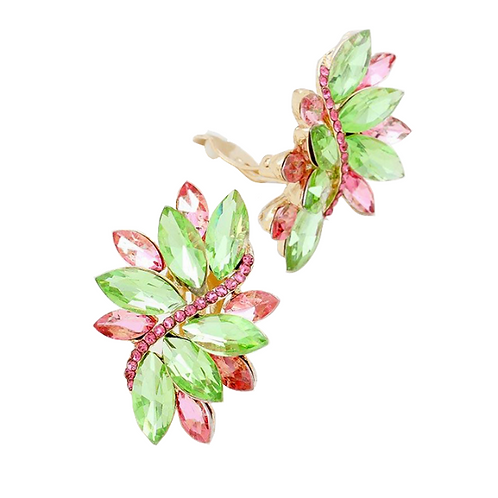 Pink and Green Marquis Crystal Swirl Clip On Earrings