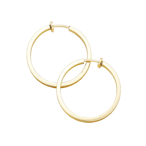 3cm Gold Squared Tube Clip On Hoops