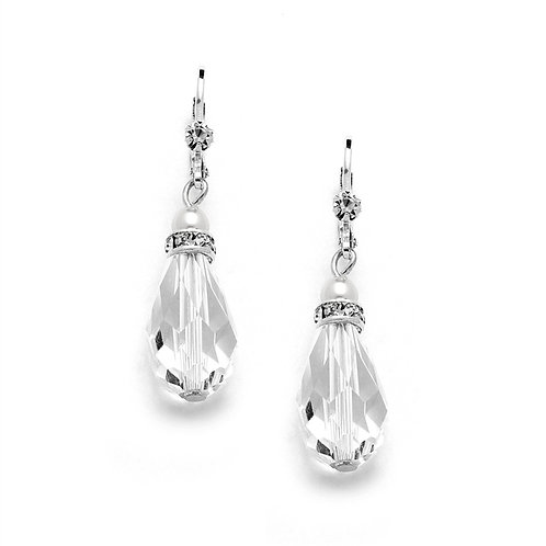 Large crystal lever back earrings with white pearl
