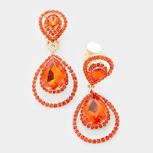 Pave Framed Double Pear Drop Clip Earrings, Orange