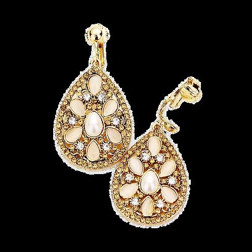 Fancy Opalescent Drop Clip Earrings, Gold