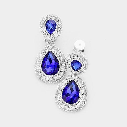 Dainty Pear Drop Clip Earrings, Sapphire Blue
